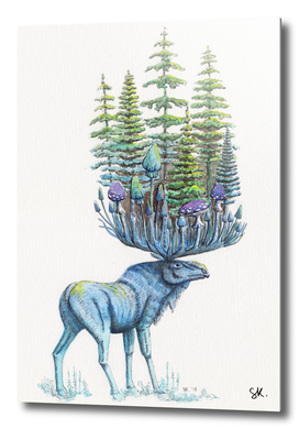 Forest Deity (Moose and Trees)