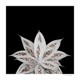 Gray Agave with Rose Gold Glitter #2 #shiny #tropical #decor