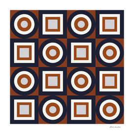 Circles and Squares III – Navy and Rust