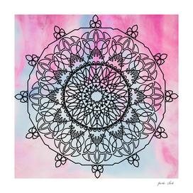 Mandala on pink and blue watercolour