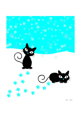 Black Cats in the Snow