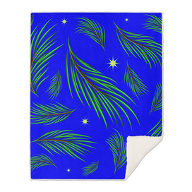 Background made of fir branches and stars.