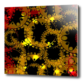 abstract glowing pattern of gears and spheres in red gold