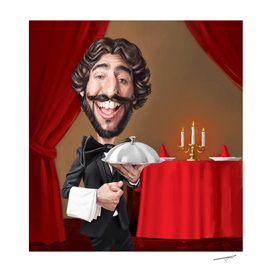 Caricatured Waiter Portrait