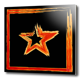 Fire star in red and blue color on a black background.