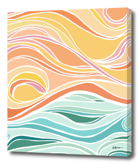Abstract Pastel Tropical Sunset