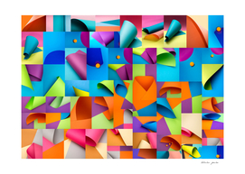 Collage of abstract backgrounds from colored paper sheets