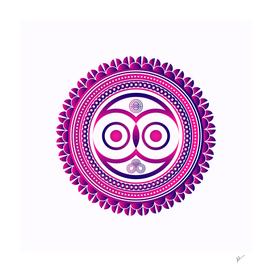 pink owl zentangle