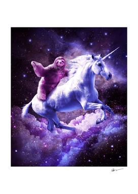 Space Sloth Riding On Unicorn