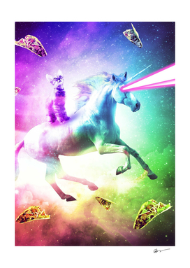 Space Cat Riding Unicorn - Laser, Tacos And Rainbow