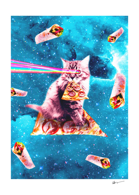 Space Cat Eating Pizza - Rainbow Laser Eyes, Burrito