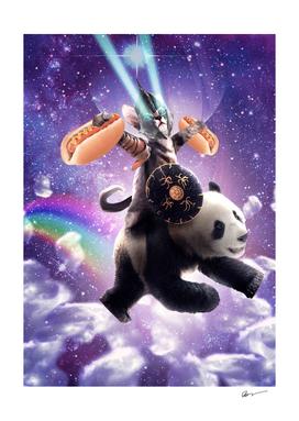 Lazer Warrior Space Cat Riding Panda With Hotdog