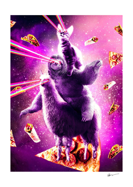 Laser Eyes Space Cat Riding Sloth, Llama - Rainbow