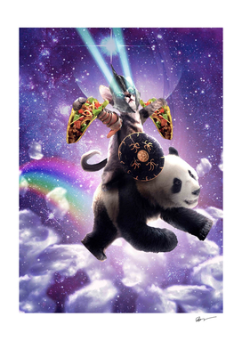 Lazer Warrior Space Cat Riding Panda With Taco