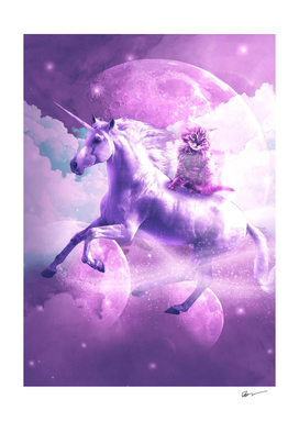 Kitty Cat Riding On Flying Space Galaxy Unicorn