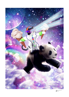Lazer Rave Space Cat Riding Panda With Ice Cream