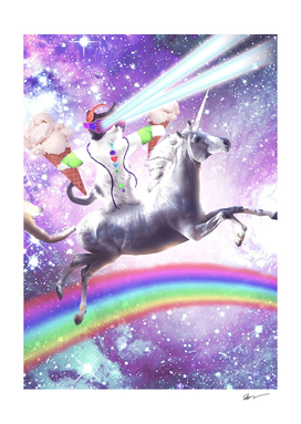 Lazer Rave Space Cat Riding Unicorn With Ice Cream