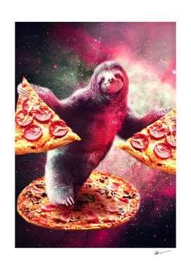 Funny Space Sloth With Pizza