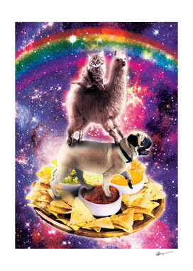 Space Cat Llama Pug Riding Nachos