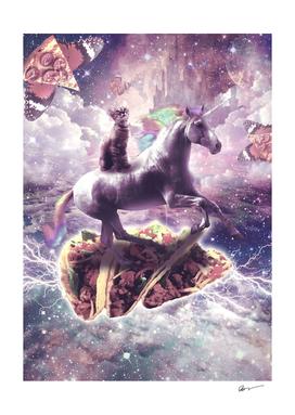 Space Cat Riding Unicorn - Pizza & Taco