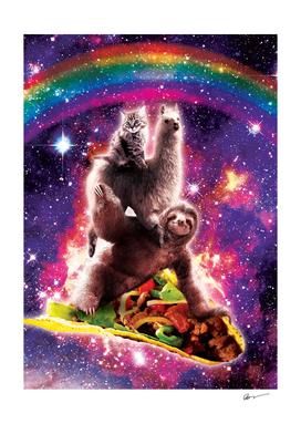 Space Cat Llama Sloth Riding Taco