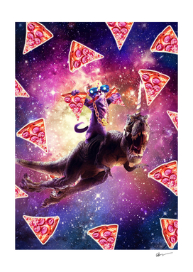 Thug Space Cat On Dinosaur Unicorn - Pizza