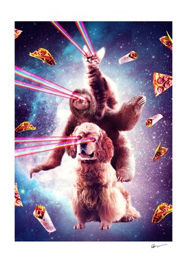 Laser Eyes Space Cat Riding Sloth, Dog - Rainbow