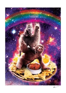 Space Cat Llama Sloth Riding Nachos