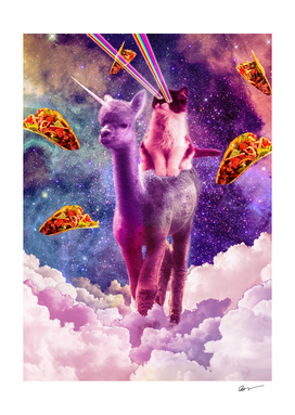 Cosmic Cat Riding Alpaca Unicorn