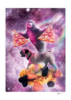 Space Pizza Sloth On Pug Unicorn On Waffles