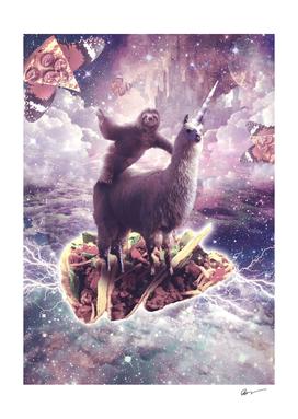 Space Sloth Riding Llama Unicorn - Pizza & Taco