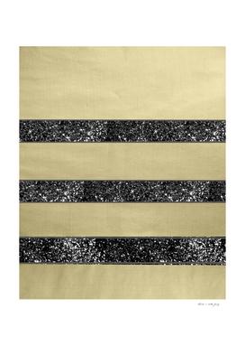 Gold Black Glitter Stripes Pattern #1 #minimal #decor #art