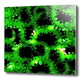 Green luminous lace from circles and balls.