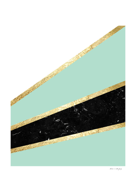 Mint, White, Black Marble and Gold Stripes Glam #1 #minimal