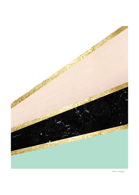 Mint, Blush, White, Black Marble and Gold Stripes Glam #1