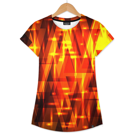 Red gold in stripes and triangles.