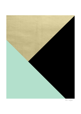 Gold meets Mint & Black Geometric #1 #minimal #decor #art