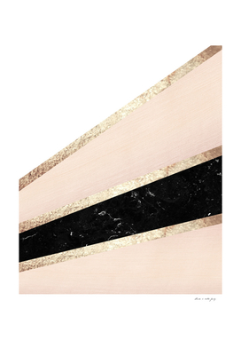 Blush, White, Black Marble and Rose Gold Stripes Glam #1