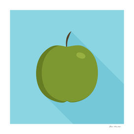 Green apple icon in flat long shadow design