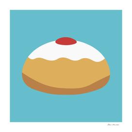 Hanukkah holiday Sufganiyah flat design icon