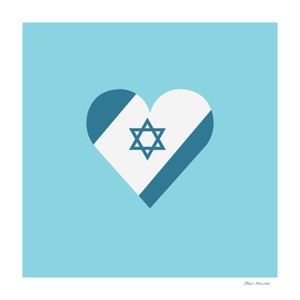 Israel flag icon in heart shape in flat design