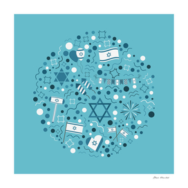 Israel Independence Day holiday icons set in round shape