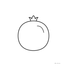 Pomegranate icon in black flat outline design