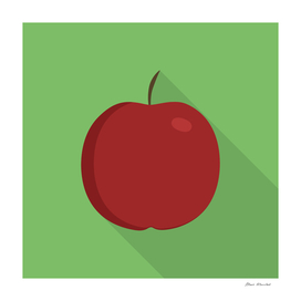 Red apple icon in flat long shadow design
