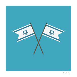 Two Israel Flags icon in flat design