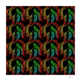 Neon feathers and leaves on a black background.