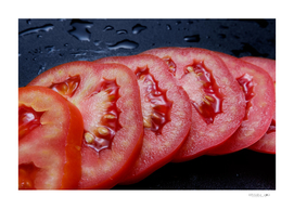 Juicy sliced tomato