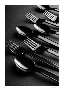 Black plastic cutlery