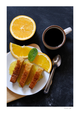 Orange cake and coffee