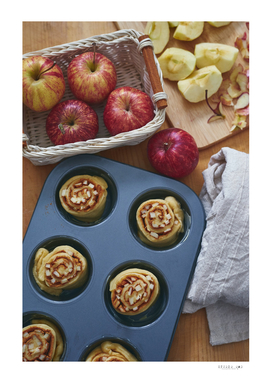 Preparing apple cinnamon roll